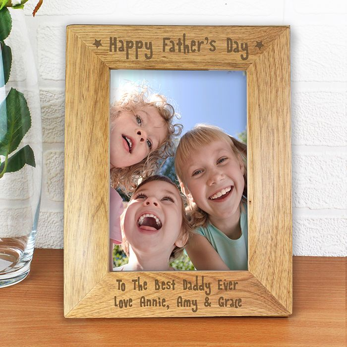 Happy Fathers Day Wooden Photo Frame 5x7
