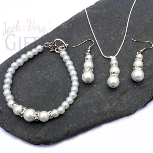 White Glass Pearl Necklace Bracelet Earring Set